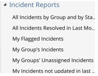Incident ticket reports list