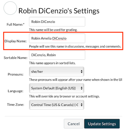 canvas user account settings; Display Name showing preferred name.