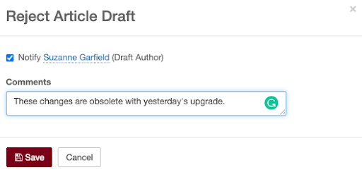 Reject article draft dialog box; notify checkbox checked; comments entered.