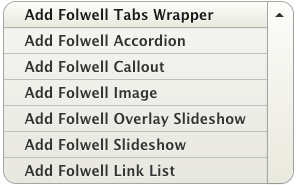 list of folwell components with Add Folwell Tabs Wrapper at the top of the list.