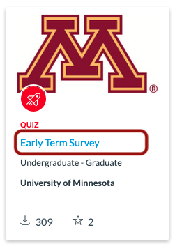 Select Early Term Survey in Canvas Commons