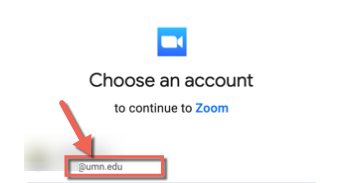 Select your umn account to go live