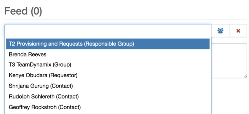 Notify field expanded showing users associated with a ticket, including Responsible group, Requestor, Creator, Contacts.