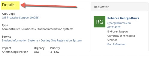 Example Ticket, Details section. Information shown: requestor, Account/Department, Type, Service, Impact, Urgency, Priority