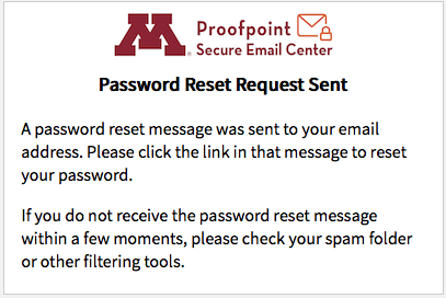 Proofpoint password reset request confirmation window.