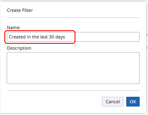 Perceptive Experience Create Filter window. Name field is circled.