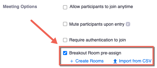 Zoom meeting options. Breakout room pre-assign checked and highlighted.