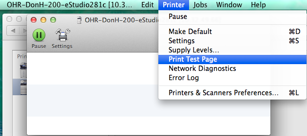 Printer is selected in the menubar at the top of the screen and in the dropdown Print Test Page is selected.
