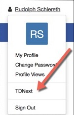 User profile dropdown menu expanded. TDNext highlighted.
