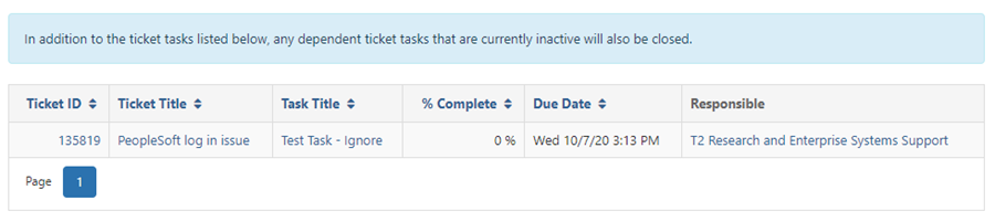 Affected Task Tickets window open, showing an open task with details. Highlighted text: In addition to the ticket tasks listed below, any dependent ticket tasks that are currently inactive will also be closed.