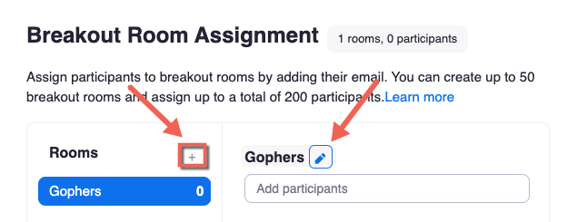 Breakout room assignment pop-up. + icon highlighted, edit breakout room name icon highlighted.