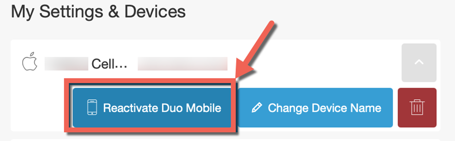 Duo management, My Settings & devices. Device options expanded for Cell phone. Reactivate Duo Mobile highlighted