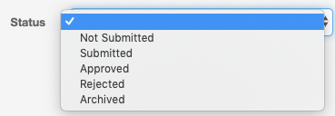 TDX statuses: Not submitted, Submitted, Approver, Rejected, archived. The Blank status highlighted.