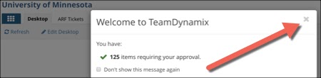 welcome to TeamDyanmix popup window with an arrow pointing to the X to close the popup window
