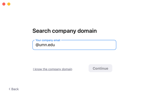 "Zoom app. Search for company domain. Sample email at umn.edu entered in the ""Your company email"" section."