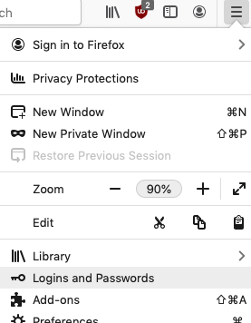 Firefox menu; Logins and Passwords highlighted