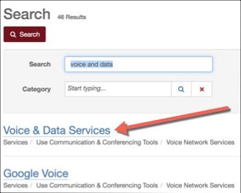 "Sample search showing matching result ""Voice & Data Services"" from search ""Voice and Data."""