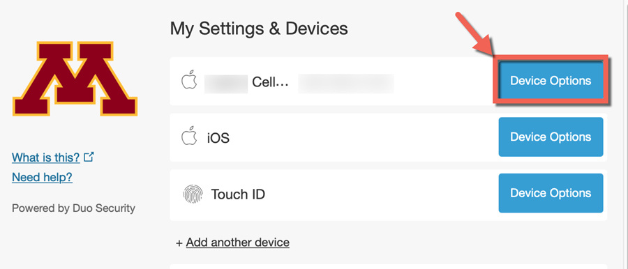 Duo management, My Settings & Devices. Device options highlighted next to example cell phone