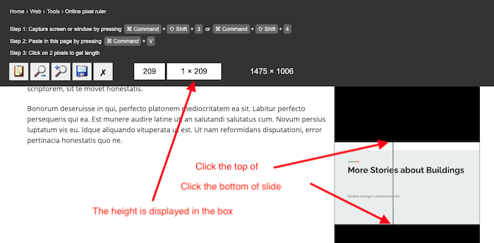 the height of the slides is displayed in the toolbar as 209 pixels tall.