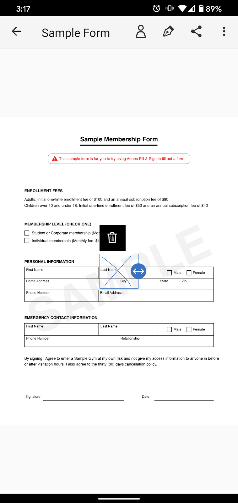 Sample Form page with the example Initials in the previous image moved from the top of the page to the middle of the page