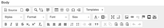 WYSIWYG editor toolbars