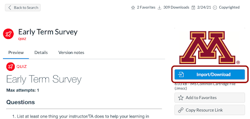 Early Term Survey Preview; Import/Download button highlighted