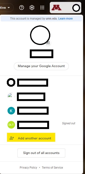 Google account menu