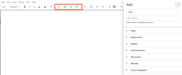 New RCE toolbar and page content area; Canvas Content buttons highlighted; Add menu visible