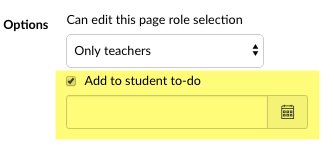 Page options Add to student to-do checkbox is checked.