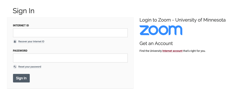 The UMN Zoom Single Sign On screen with fields for your Internet ID and password along with a Sign In button