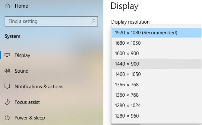 Windows Settings Display. 1920x1080 (recommended) selected. 1440x900 highlighted.