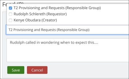 Ticket comment, Notify dropdown menu expanded. Example Responsible group highlighted and checked.