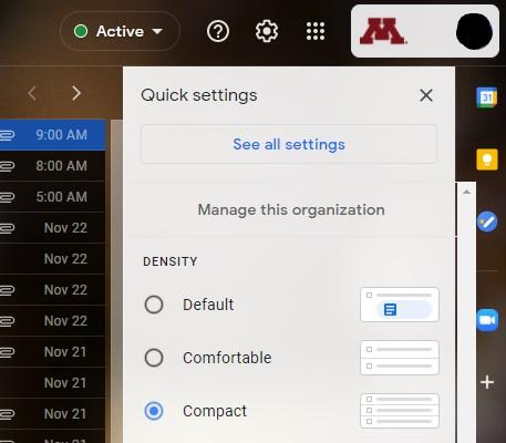 Gmail setting drop down
