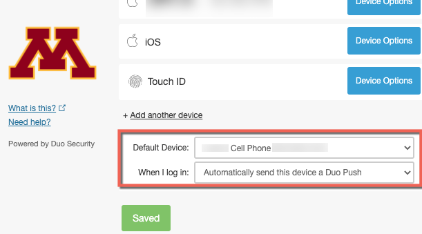 "Manage duo window with device options. ""Default device with cell phone"" selected, ""When I log in: Automatically send this device a push"" highlighted."