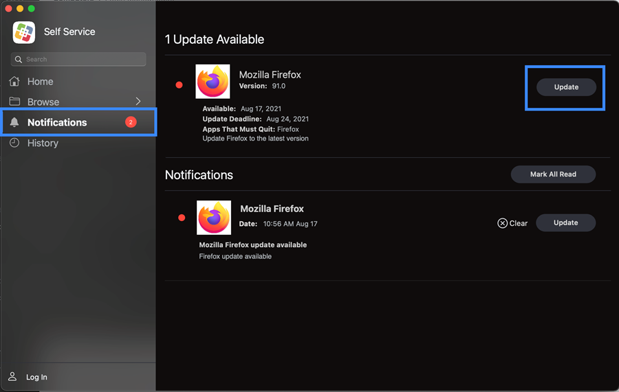 Self Service Notifications and available firefox update