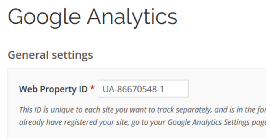 Google Analytics section of Drupal Lite Site's Advanced settings page. A Tracking ID is in the text field.