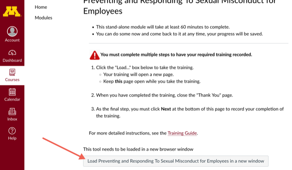 Second training site page with arrow pointing to Preventing and Responding to Sexual Misconduct link