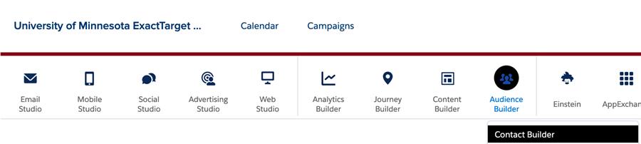 Salesforce Marketing Cloud main menu with Contact Builder selected
