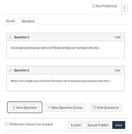 Questions tab displaying quiz questions; +New Question button highlighted