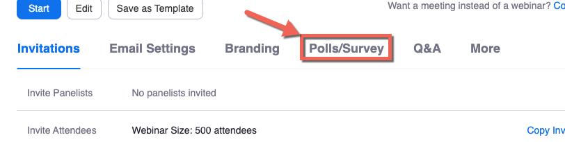 Zoom webinar details, additional option tabs. Polls/Survey highlighted.
