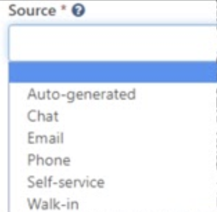 Source dropdown menu expanded. Choices: blank, auto-generated, chat, email, phone, self-service, walk-in