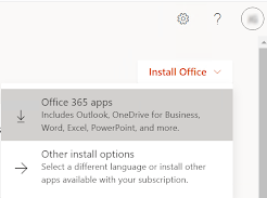 Install Office dropdown with options for Office 365 apps and Other install options. Office 365 apps is selected.