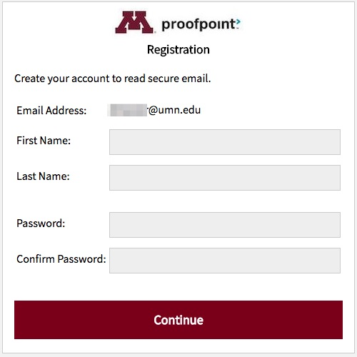 Proofpoint Create an Account screen