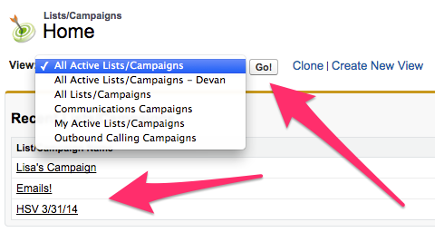 Lists/Campaigns Home with dropdown showing and Go and Recently Lists/Campaigns highlighted