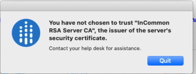 Security Certificate Error Window