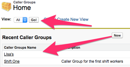 A screenshot of the Caller Groups Home screen with Go and Recent Caller Groups highlighted