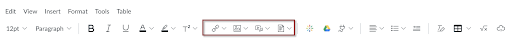New RCE toolbar with Canvas Content buttons highlighted