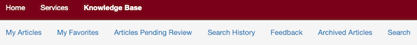 TDX Knowledge menu bar showing My Articles, My Favorites, Articles Pending Review, Search History, Feedback, Archived Articles, and Search
