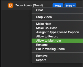 Zoom desktop client. More selected over example participant. Allow to Multi-pin highlighted.