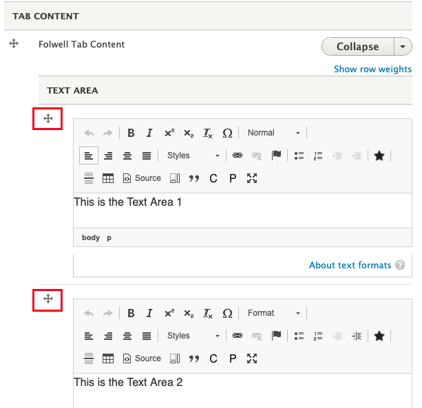 the tab content area, there are two items in the Text Area section each with a compass icon highlighted in red boxes.